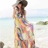Women Multi-Colored  Chiffon   Spaghetti Staps Deep V-Neck Long Fitting One Size Dress@MF9703m