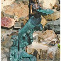 Mystical Mermaid Solid Bronze Garden Sculpture - BB395332 - Design Toscano