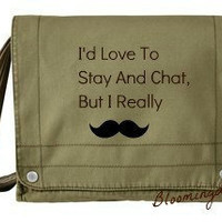 Messenger Bag Olive Mustache Embroidery