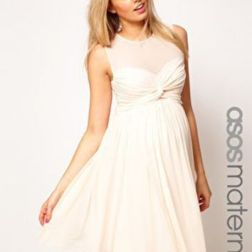 ASOS Maternity Dress With Mesh And Knot Front at asos.com