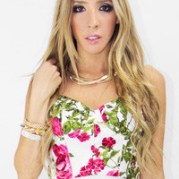 FLOWER PRINT BRALET - White