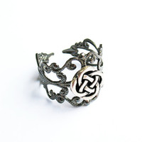 Celtic Ring  - Gunmetal Filigree Ring with Celtic Quarternary Knot, Adjustable