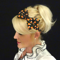 Halloween candy corn/polka dot bow  stretch headband for adult/child feminine/holiday