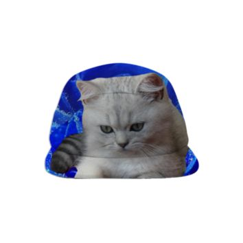 Cat and Blue Rose Baseball Hat created by ErikaKaisersot   Print All Over Me