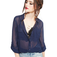 Sheer Button Up Roll-Sleeve Tunic | Wet Seal