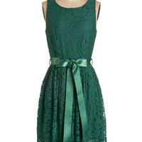 ModCloth Mid-length Sleeveless A-line Lovely as Lychee Dress in Emerald