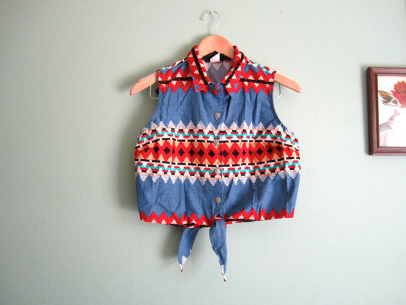 southwestern print crop top blouse/ southwest boho sleeveless shirt/ tie front blouse XS-S