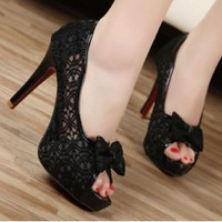 Discount China  2012 Lace Bowknot Fish Mouth Stiletto Sandal GQNN-825-9B [GQNN-825-9B] - US$13.70 : Fashion Ladies Shoes&amp;Bags Wholesale Online at Egogog.com