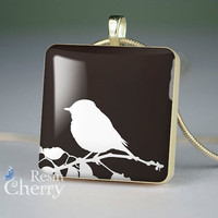 bird necklace pendant,bird scrabble tile pendant,bird pendant, black white- A0106SI