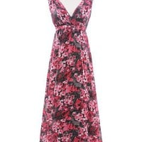 Women Chiffon Long Dress V-Neck Red Flower Print Dress Fitting One Size Dress @MF5026r