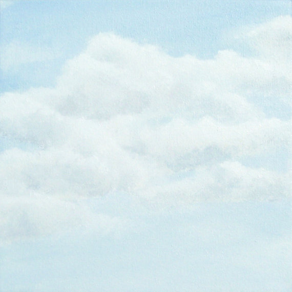 Original Skyscape Painting White Clouds From