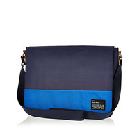 River Island MensNavy two-tone flap over bag