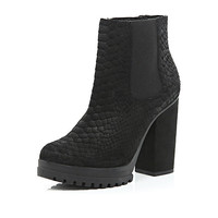 River Island Womens Black suede snake print ankle boots