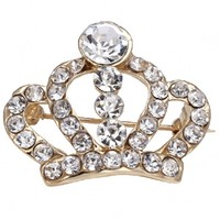 Shimmery Crown Gold-Tone Brooch - OASAP.com