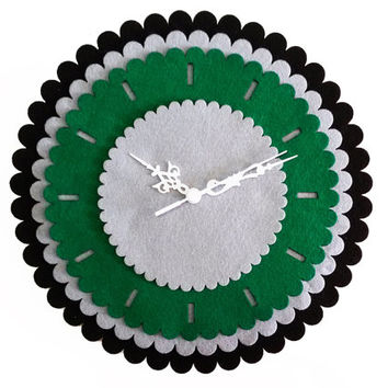 Gear Clock - Fabric Hoops Wall Clock - Green Wall Hanging - Wood and Fabric