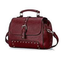 CrazyPomelo Women's Classic PU Leather Multipurpose Handbag Satchel With Rivet Wine Red