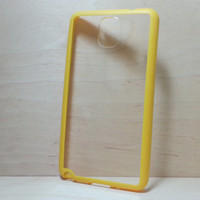 Samsung Galaxy Note 3 Case Silicone Bumper and Clear Hard Plastic Back - Yellow