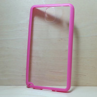 Samsung Galaxy Note 3 Case Silicone Bumper and Clear Hard Plastic Back - Rose Pink