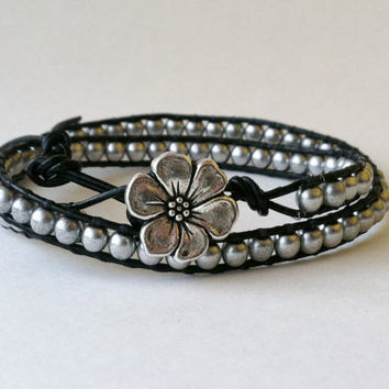 Silver Apple Blossom Charm Bracelet, Czech Glass, Chan Luu Style, Mini Leather Wrap Bracelet