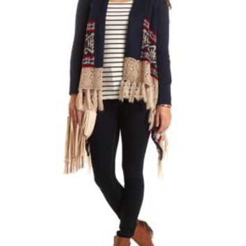 Patterned Cascade Sweater with Fringe by Charlotte Russe - Navy Combo