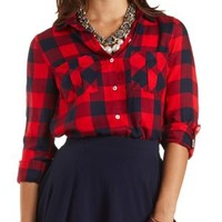 Flyaway Plaid Button-Up Tunic Top by Charlotte Russe - Red Combo