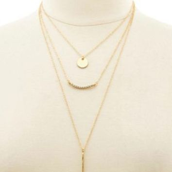 Delicate Layered Charm Necklace by Charlotte Russe - Gold