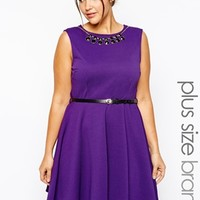 New Look Inspire Textured Skater Dress With Necklace