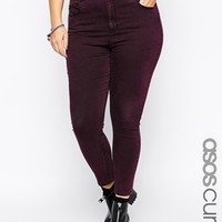 ASOS CURVE Ridley Ankle Grazer Jean In Wine Acid Wash
