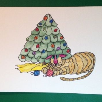 Christmas Card, Cats, Kitty Bargain#4, Original, Not a Reproduction