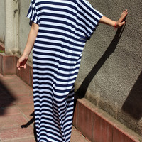 White and Dark Blue stripes cotton long caftan plus size/long dress/casual dress/everyday dress/sun dress/day dress/
