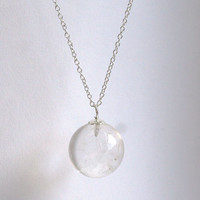 The Divination Necklace... Clear Quartz Crystal Ball Necklace with Sterling Silver chain