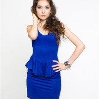 Ladakh Alanah Dress- Ladakh Peplum Dress- Ladakh Cobalt Blue Dresses- $79.99