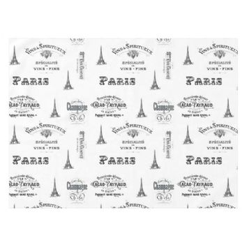 Paris Label Collage French White Table Cloth