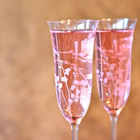 Champagne Flutes with Orchids - Custom Wedding Toasting Flutes - Etched Glass