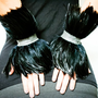 Black Feather and Leather Wrist Cuff Bracelets &#x27;RAVEN&#x27;