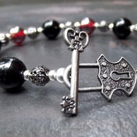 Skeleton Key & Lock Bracelet:  Maroon Red Jet Black Glass Antiqued Silver Romantic Gothic Jewelry