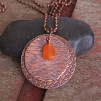 Pounded Copper Pendant with Carnelian Stone and Ball Chain