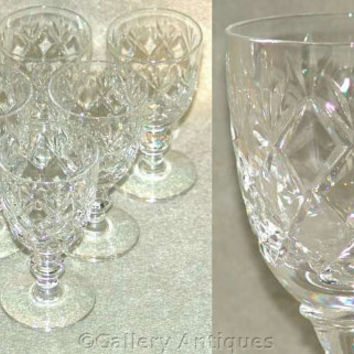 Six Webb Corbett Crystal Criss Cross and Fan Cut Glass with a disc stem Sherry / Port Glasses Signed and Dating to 1967 (ref: 2299)