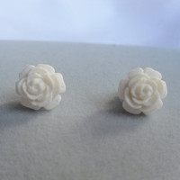 White Full Bloom Rose Stud Earrings