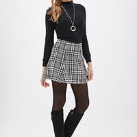 Fluted Abstract Houndstooth Skirt