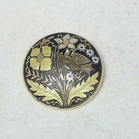 Vintage Damascene Round Brooch Bird Flower 38mm