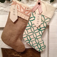 Rustic Burlap Christmas Stocking ,Customize Name Tag, Rustic Holiday Decor, Shabby Chic Christmas Holiday Stockings