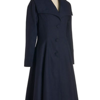 Intrigue All About It Coat in Navy | Mod Retro Vintage Coats | ModCloth.com