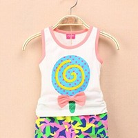 Hot 2PCS Baby Girls Kid Lollipop Summer Beach Shorts T-shirt Vest Tops Pants Outfits