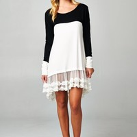 Simply Lovely Colorblock Vintage Lace Tunic