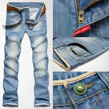 New Classic Men Stylish Designed Straight Slim Fit Trousers Casual Jean Pants