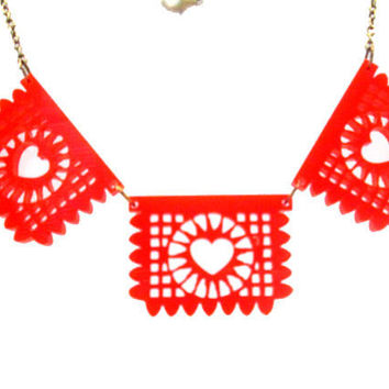 Red Papel Picado Banner Necklace
