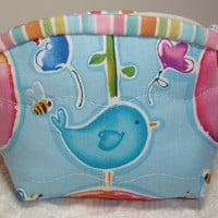Blue Birdie Quilt Coin Purse Zipper Pouch Wallet - Blue, Pink - Bird, Flowers