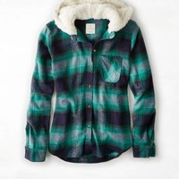 AEO 's Cozy Hooded Boyfriend Shirt (Green)