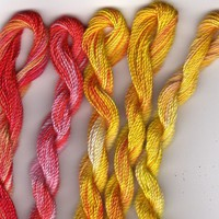 Perle Fine, 5 pack, Orange, Lemon, Red, Yarn, Mixed Media, Textile Art, Fiber Art, Serendipity